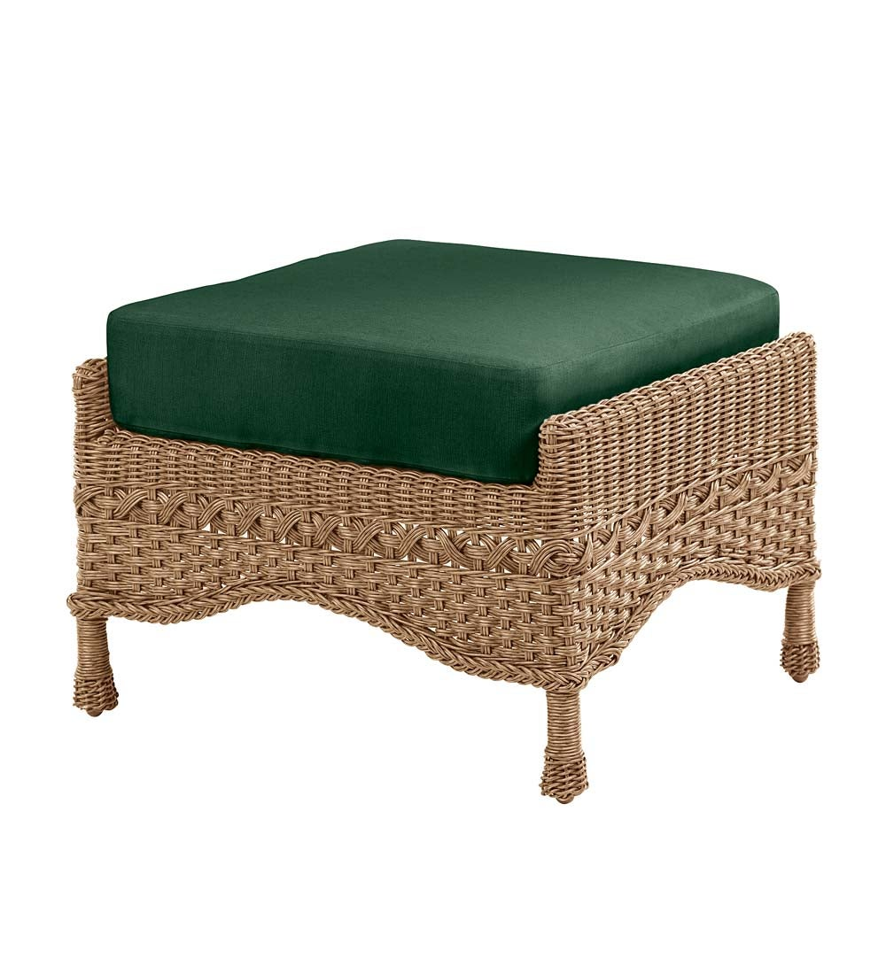 Prospect Hill Outdoor Wicker Deep Seating Ottoman with Cushion swatch image