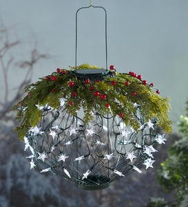 Solar Lantern Holiday Wreath Topper