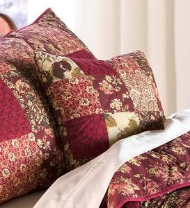 Cranberry Floral Patchwork Throw Pillow