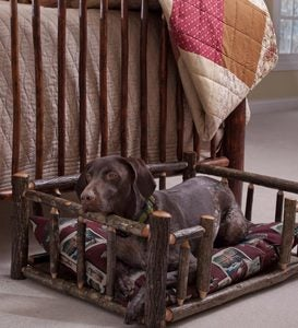 USA-Made Handcrafted Hickory Dog Rail Bed