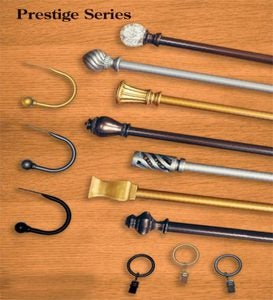 "Prestige Rod Set, 28-48""W - Antique Silver - Flame"