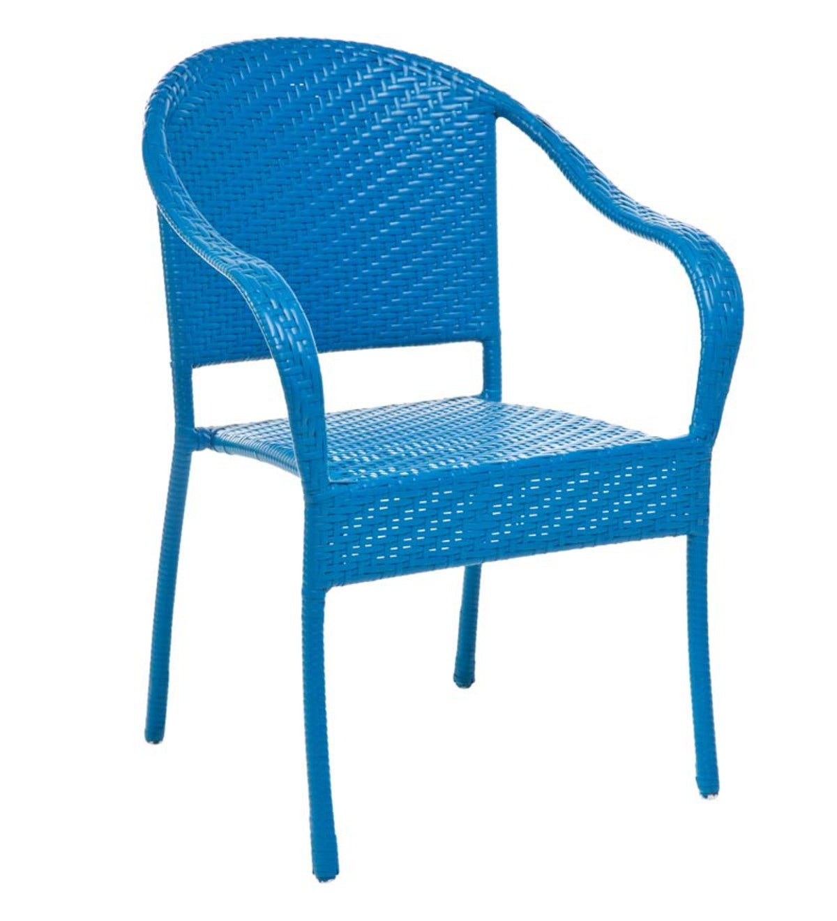 Stackable Outdoor Wicker Chair Blue