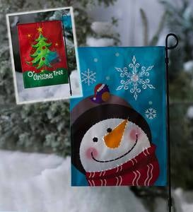 Lighted Musical Holiday Garden Flag with Stand