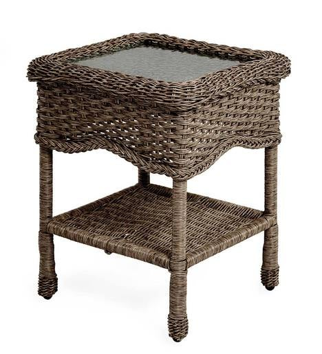 Prospect Hill Wicker End Table with Glass Tabletop