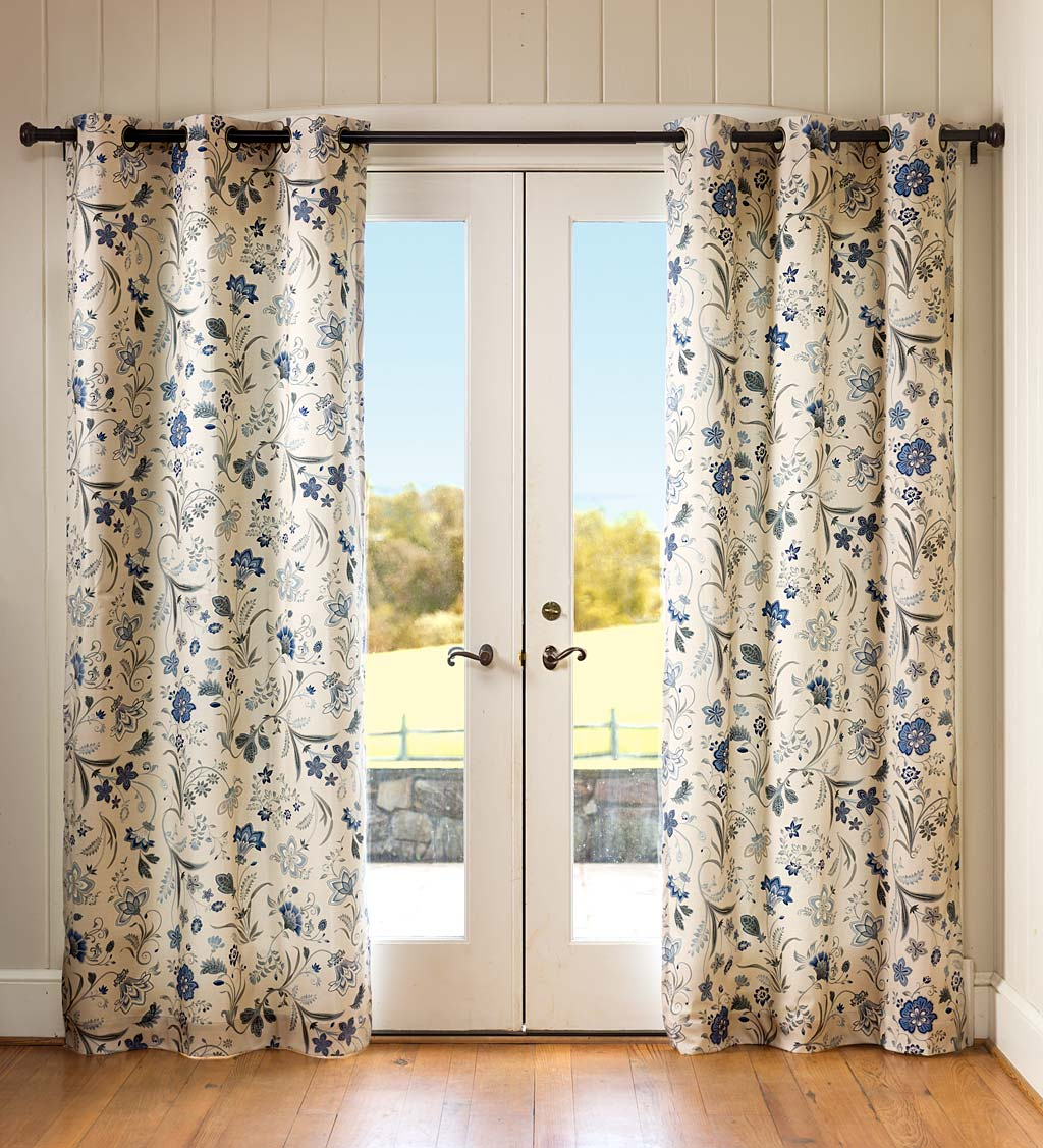 "Jacobean Thermalogic Grommet-Top Curtains, 54""L Pair swatch image"
