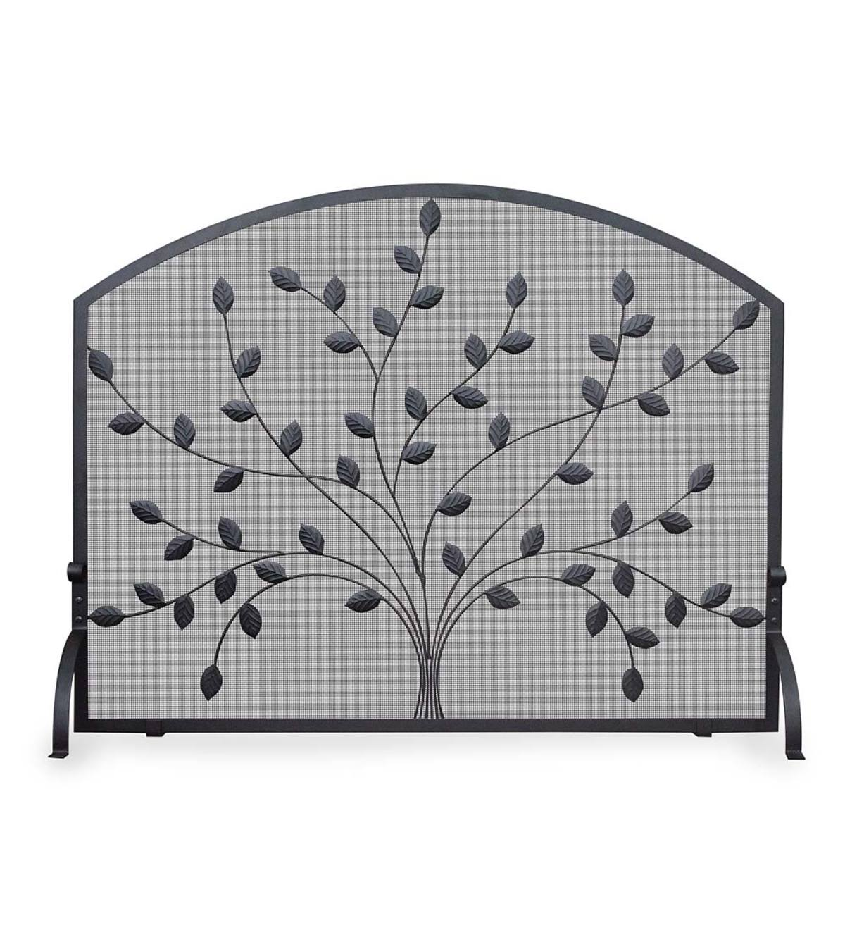 Fantastic Single Panel Black Wrought Iron Tree Fireplace Screen Interior Design Ideas Clesiryabchikinfo