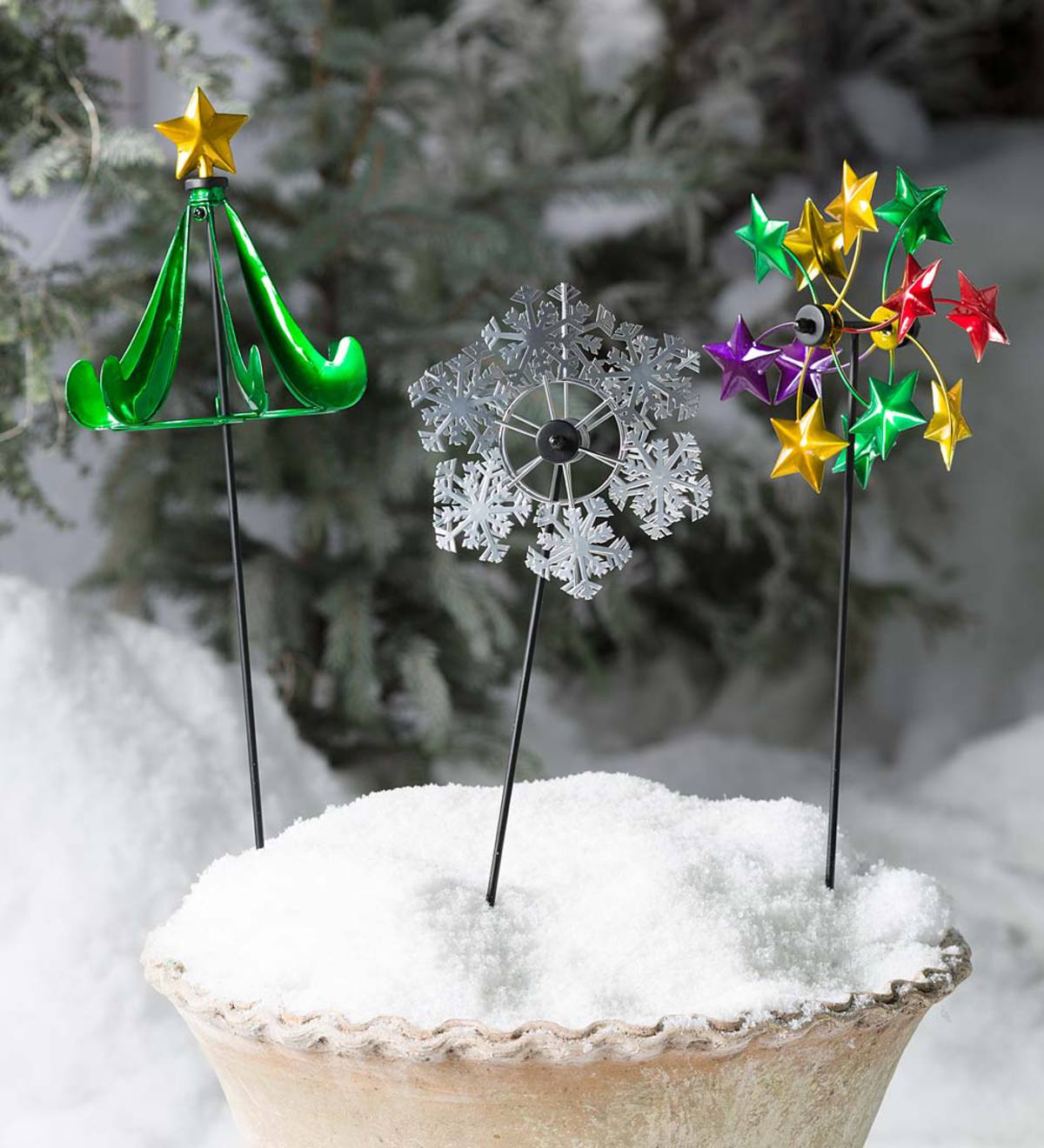 Holiday Garden Stake Pinwheels, Set Of 2