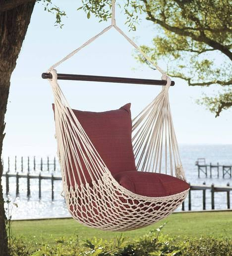 Rope Hammock Swing With Set Of 2 Polyester Pillows