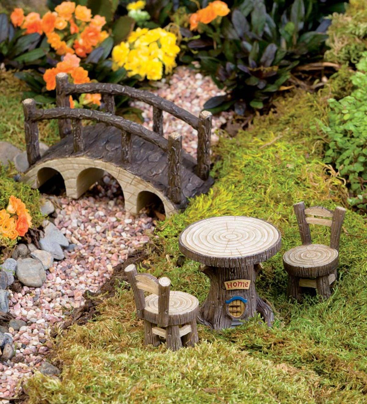 Miniature Fairy Garden Tree Stump Furniture Set | PlowHearth