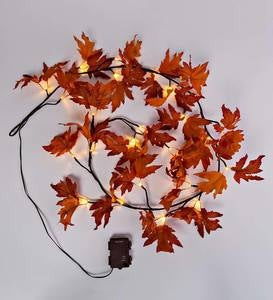 Indoor/Outdoor Lighted Maple Leaf Garland with 24 Lights