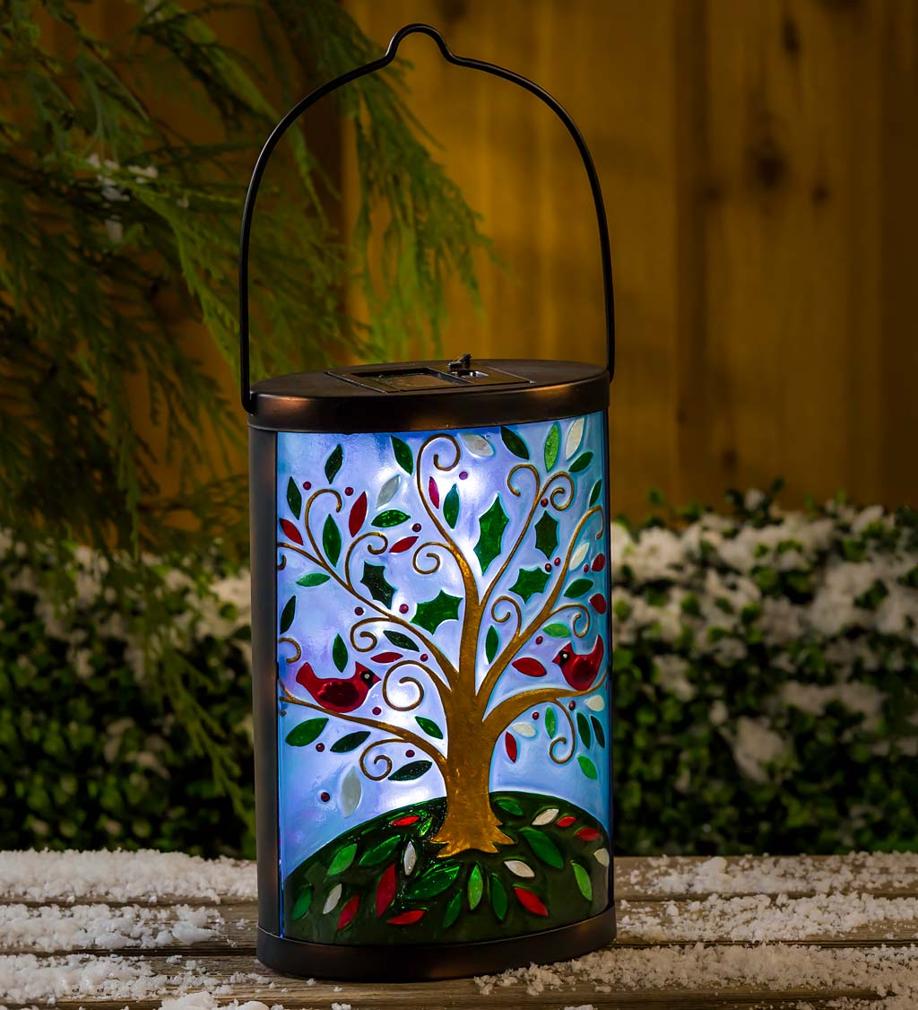 Tree of Life with Cardinals Solar Glass Lantern