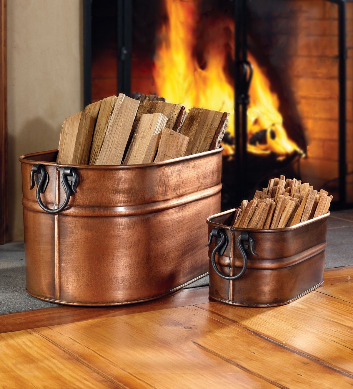 Large Copper Finished Firewood Bucket