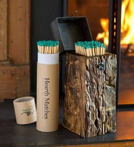 Recycled Wood And Iron Fireplace Match Holder With Matches