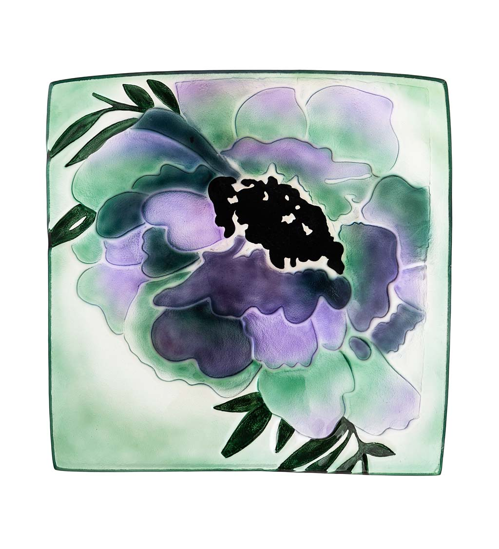Hand-Painted Embossed Square Glass Geranium Bird Bath - Purple Geranium