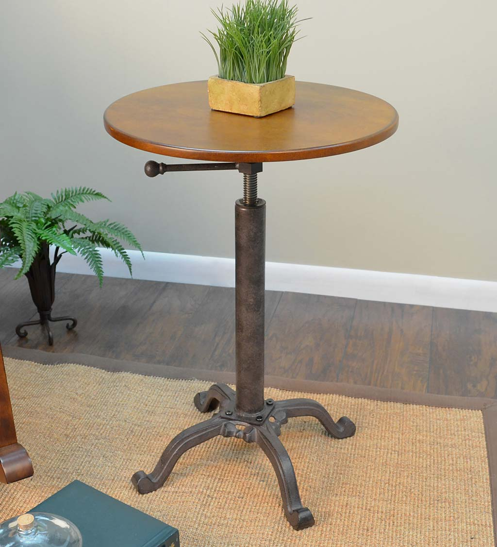 Adjustable Height Mango Wood and Metal Accent Table