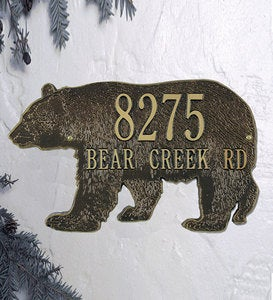 American-Made Bear Silhouette Address Plaque In Cast Aluminum - Black