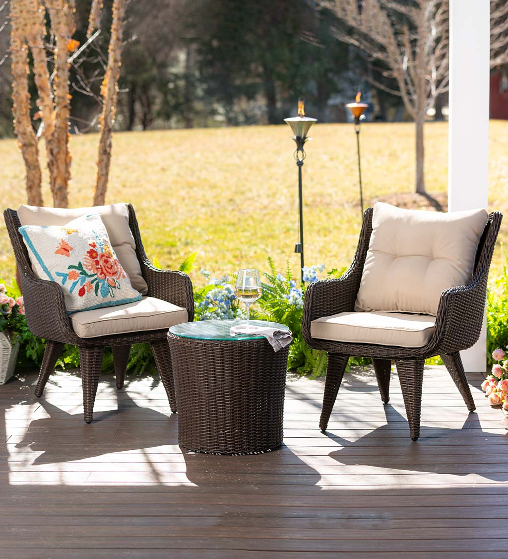 Wicker Chairs with Cushions and Table, 3-Piece Set