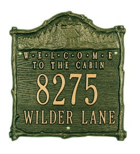 "American-Made""Welcome To The Cabin""Address Plaque In Cast Aluminum"