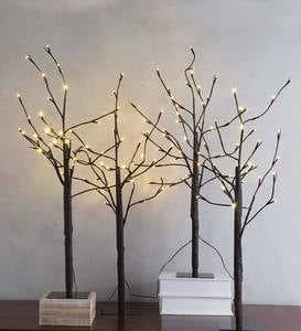 Pre-Lit Birch Twig Trees, Set of 4