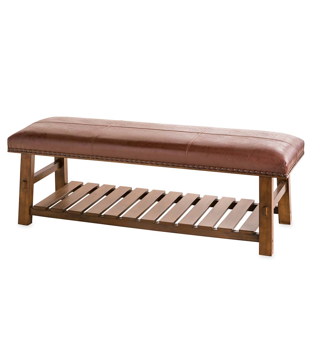 Canyon Brown Leather and Wood Bench with Slatted Bottom Shelf