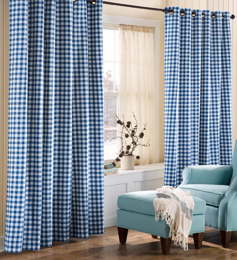"Thermalogic™ Check Grommet-Top Double-Wide Curtain Pair, 84""L swatch image"