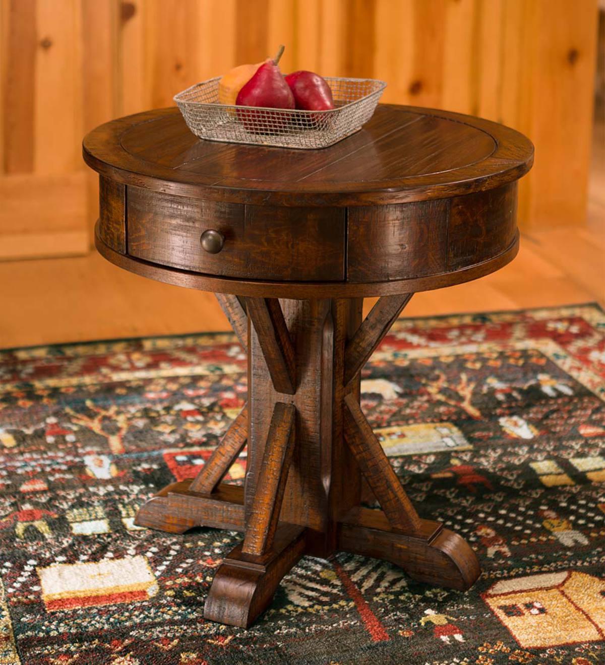 Gettysburg Round Pedestal Side Table In Oak Finish