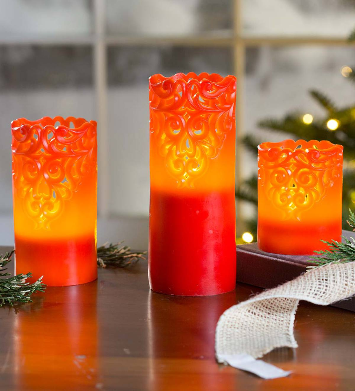 Flameless LED Candles With Lace Detail, Set of 3 - Red