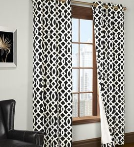 "84""L Thermalogic™ Trellis Grommet-Top Insulated Curtains - Black"