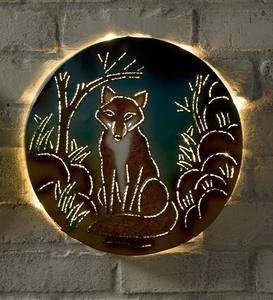 Lighted Recycled Metal Woodland Wall Art
