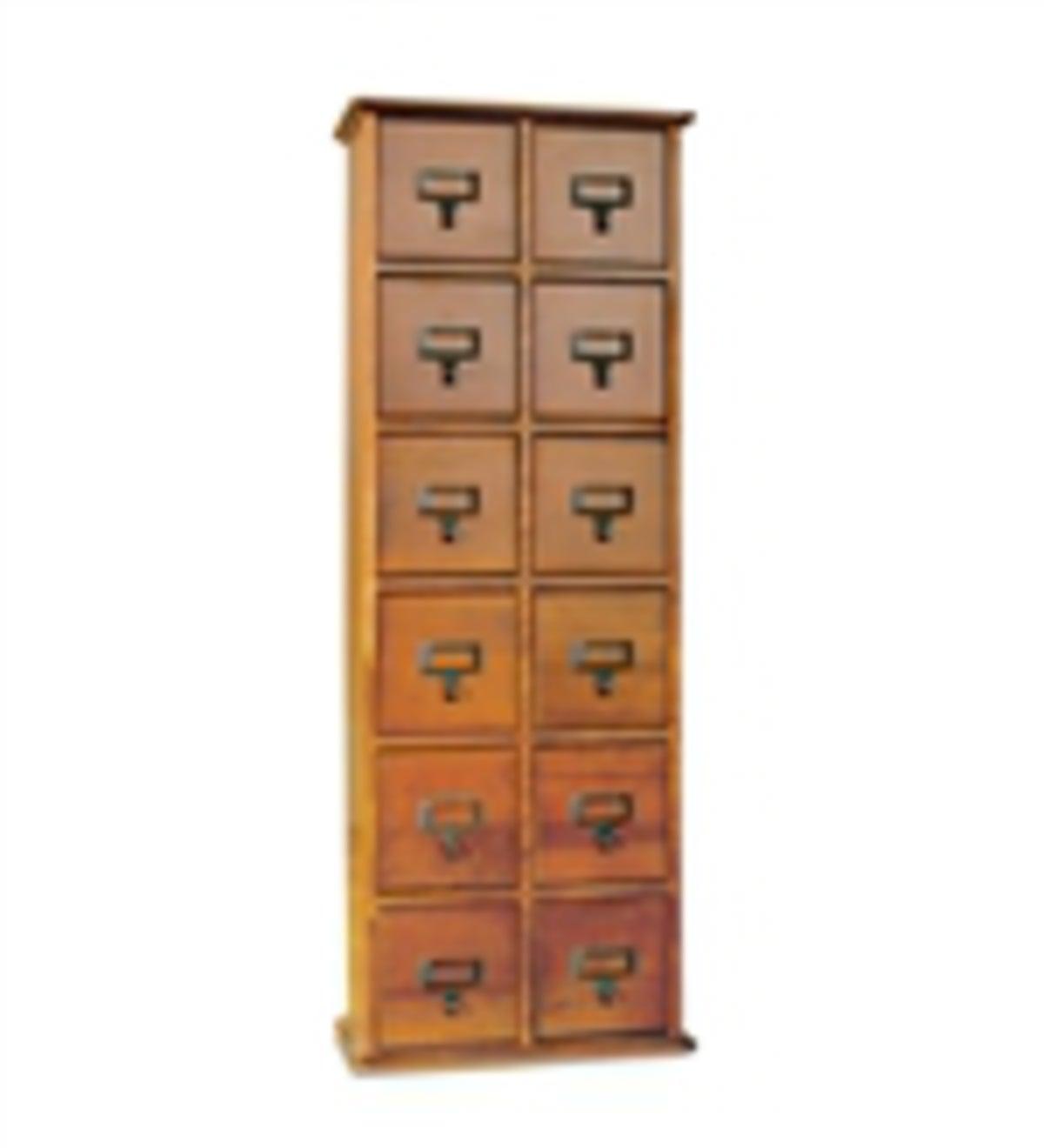 Retro Style Wooden 24 Drawer Multimedia Library File Cabinet Oak Finish