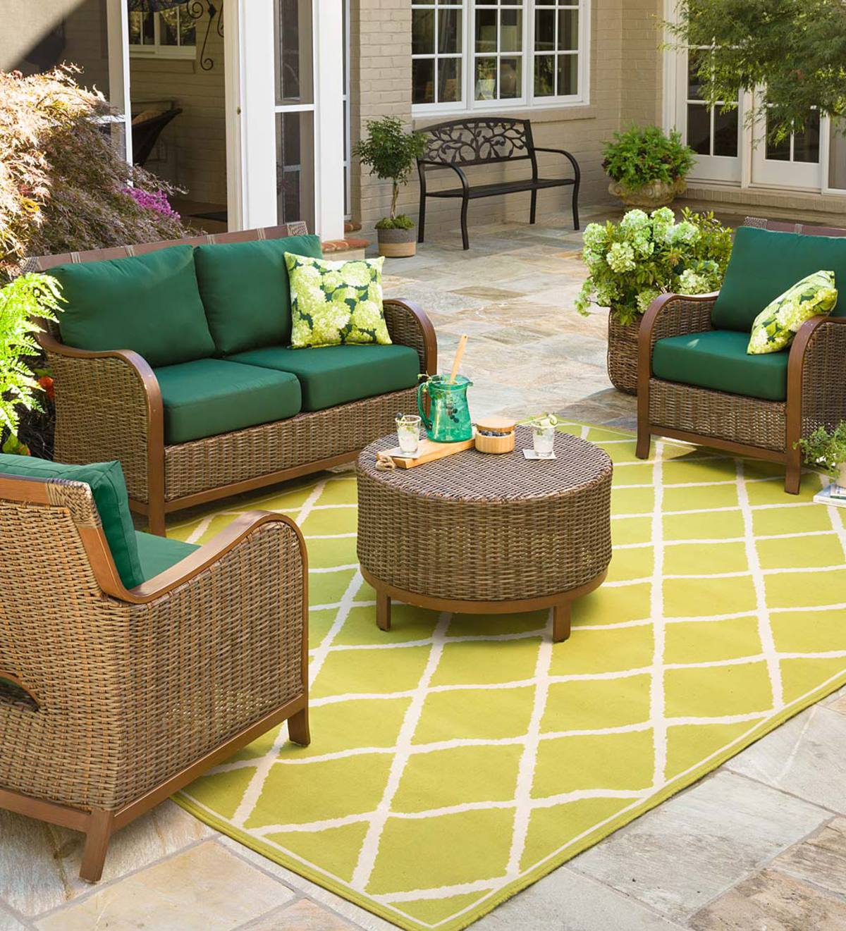 Urbanna Premium Wicker Four Piece Set with Luxury Cushions - Forest Green