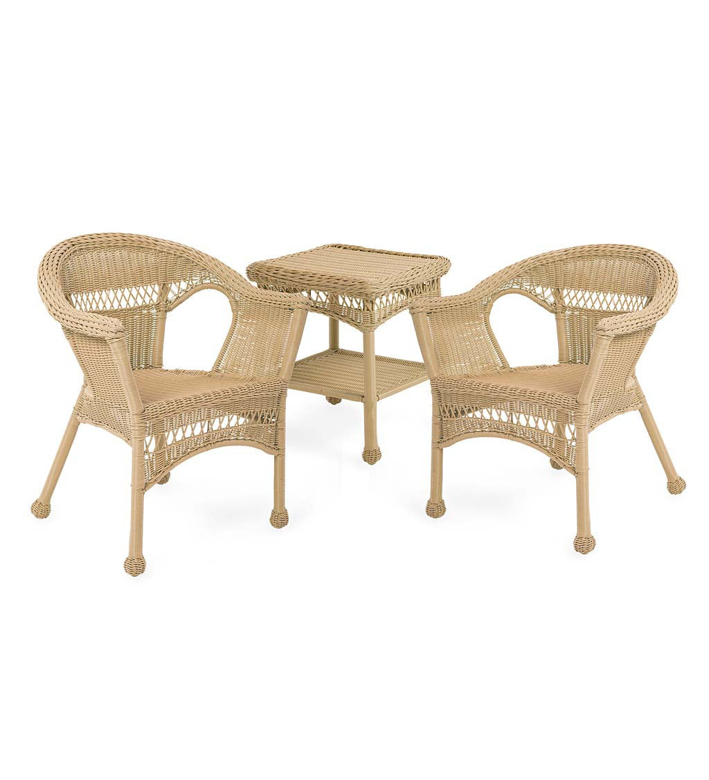 Easy Care Resin Wicker Furniture Set, Two Chairs and End Table swatch image