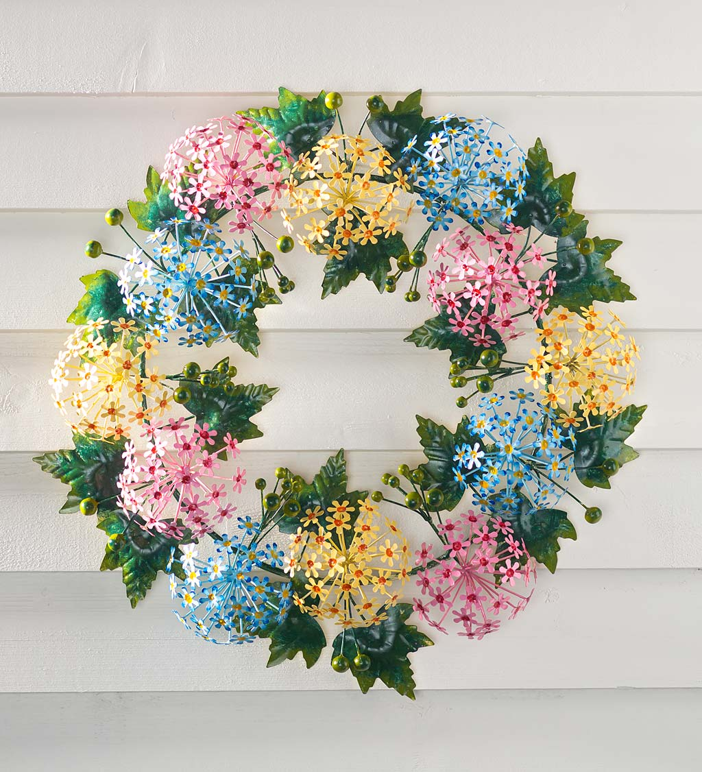 Handmade Metal Floral Wreath in Spring Pastel Colors