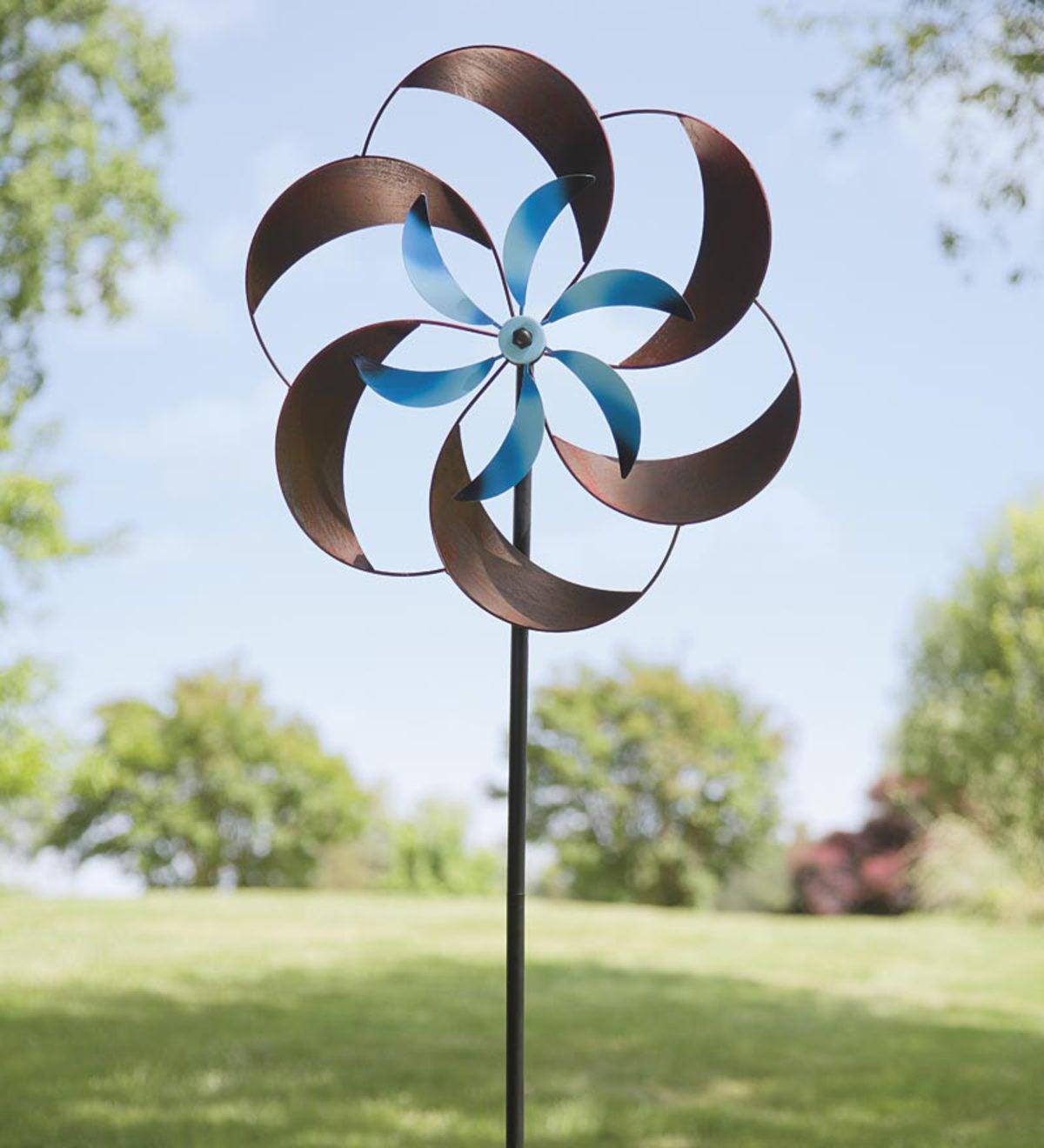 Two Tone Pinwheel Metal Garden Spinner Plowhearth