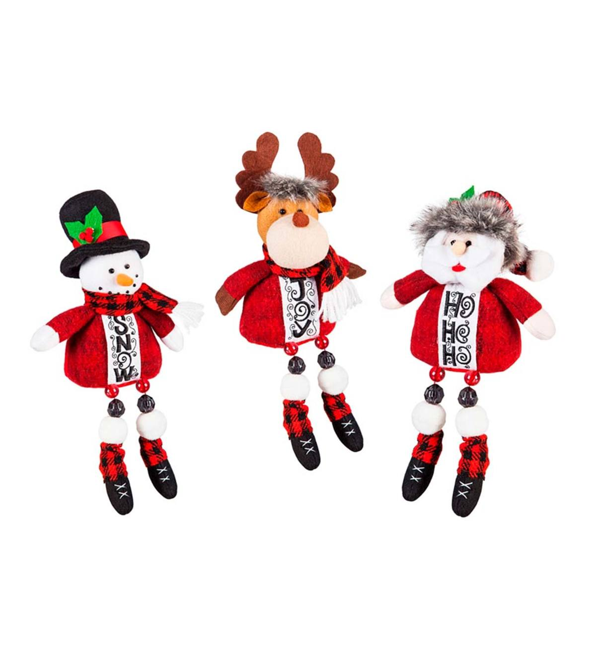 Plush Long Legs Sitting Holiday Friends, Set of 3
