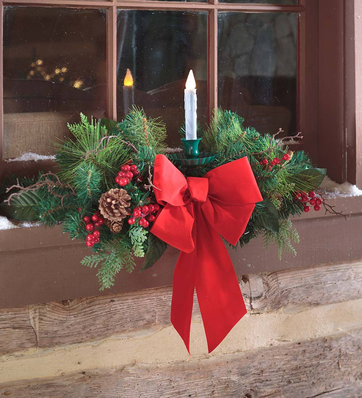 Outdoor Christmas Window Swags.Holiday Window Swag With Candle Plowhearth
