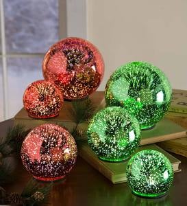 3D Lighted Glass Balls, Set of 3