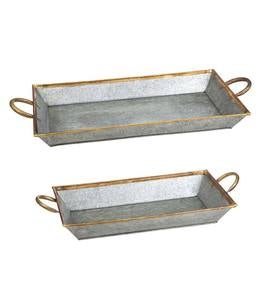 Galvanized Serving Trays, Set of 2