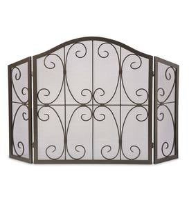 Crest Tri-Fold Fire Screen - Copper