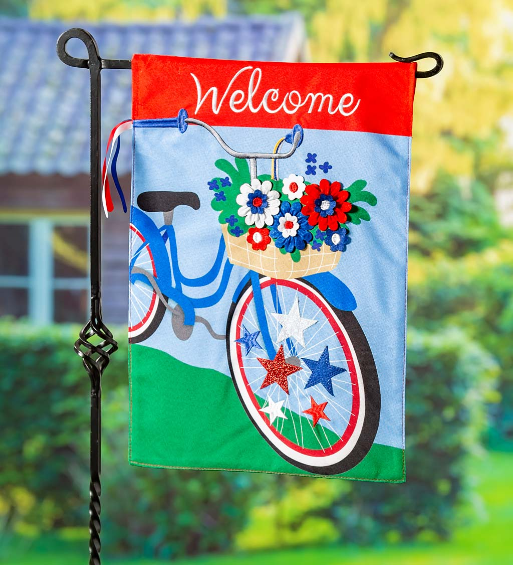 Americana Bicycle Garden Linen Flag