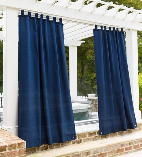"Grasscloth Outdoor Curtain Panel with Grommet Top, 110""W x 84""L"