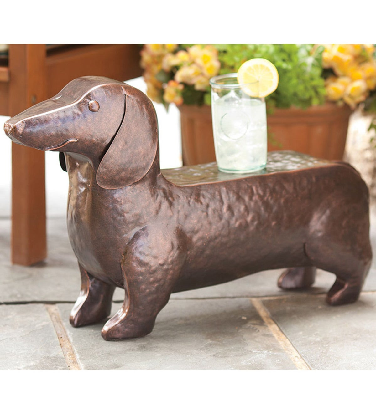 Hand-Hammered Iron Dachshund Dog Accent Table