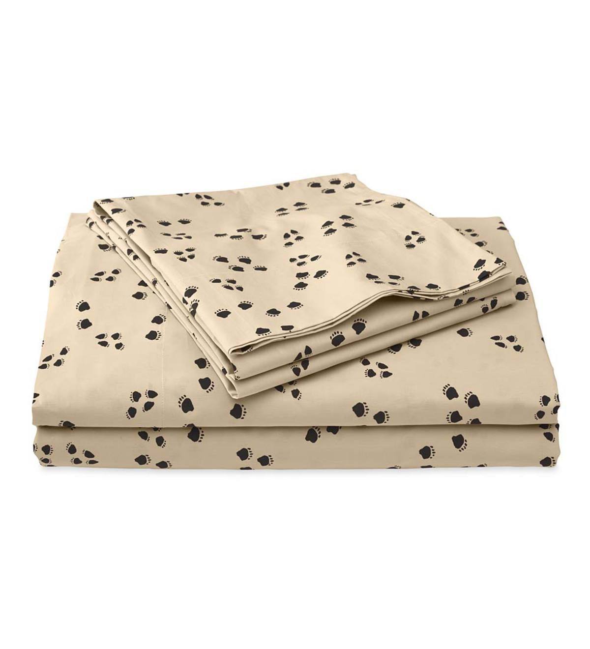 Twin Paw Print Cotton Percale Sheet Set
