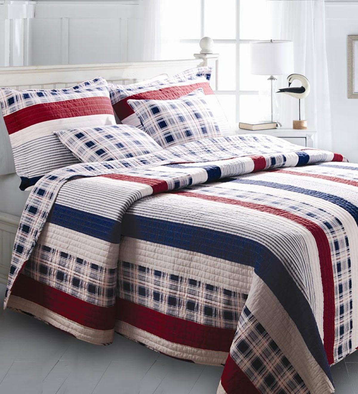 King Americana Stripe Quilt Set Plowhearth