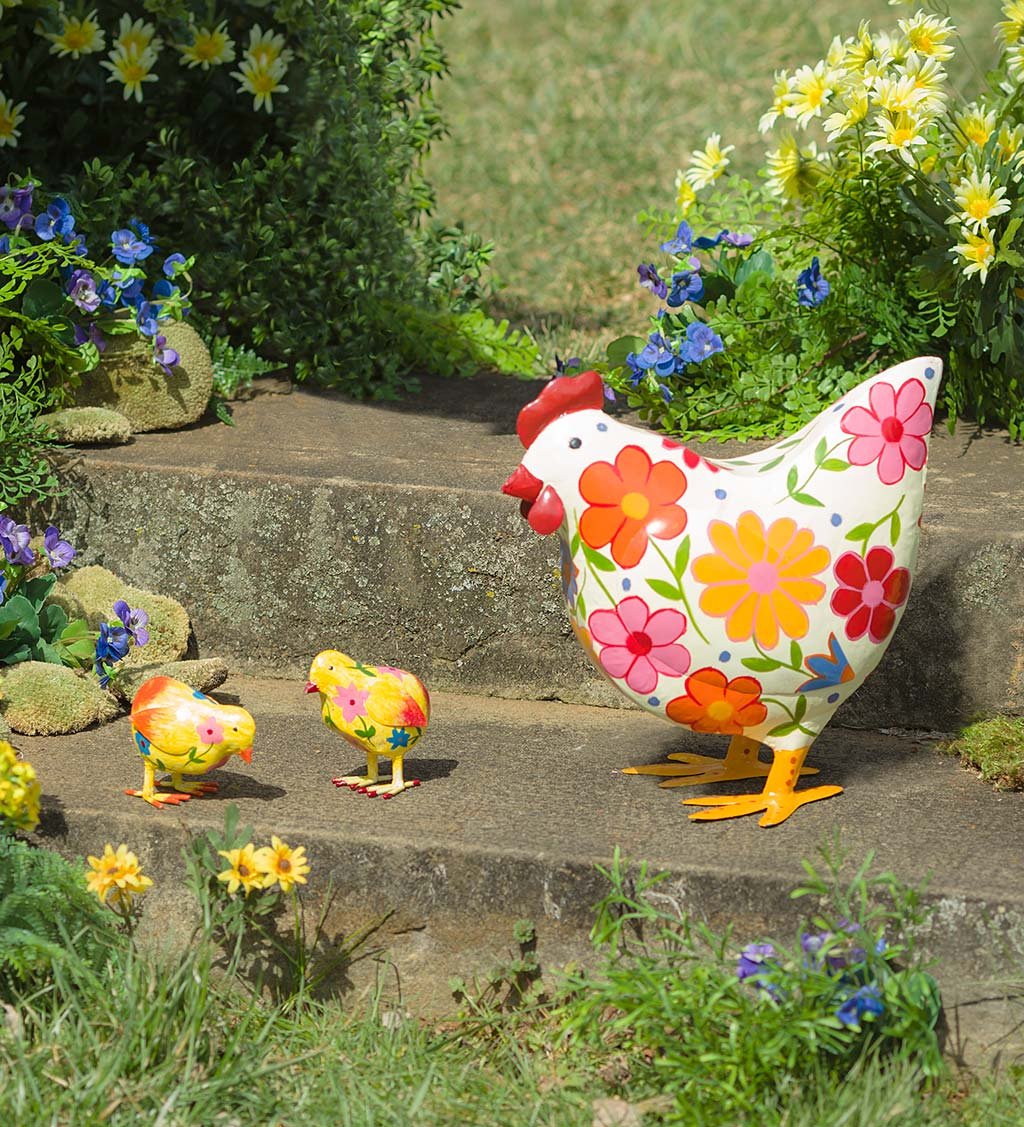 Folk Art Painted Metal Chicks, Set of 2