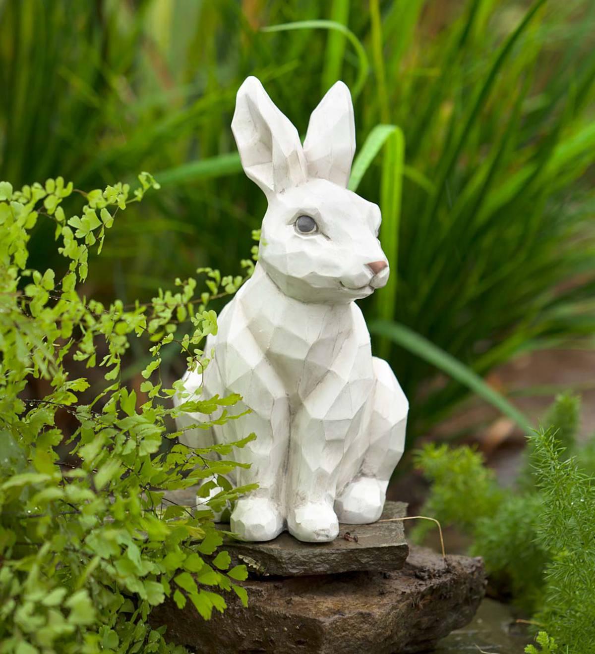 Delicieux Woodcut Style Rabbit Garden Statue