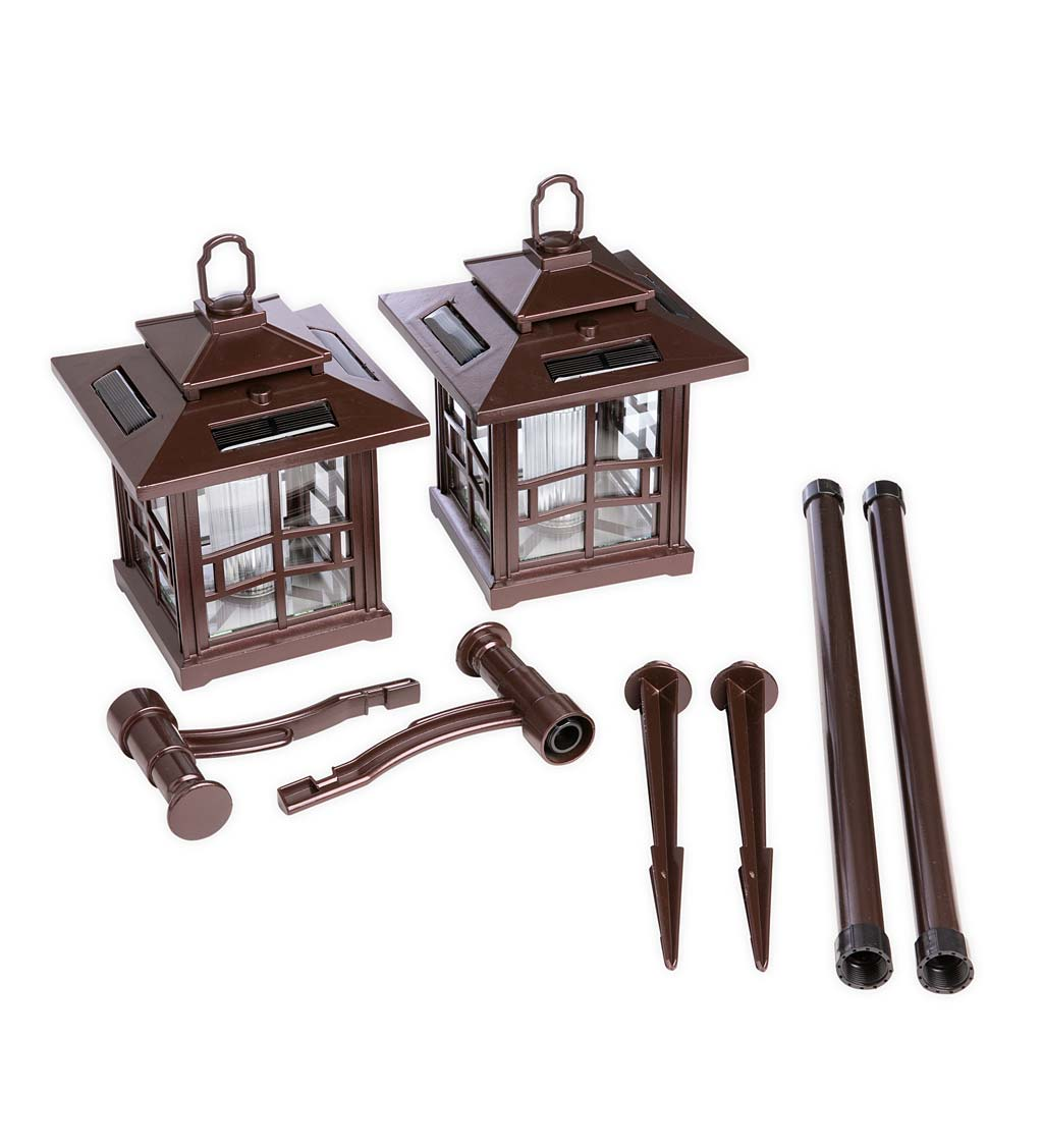 3-in-1 Solar Lanterns with Shepherd's Hook/Ground Stake, Set of 2
