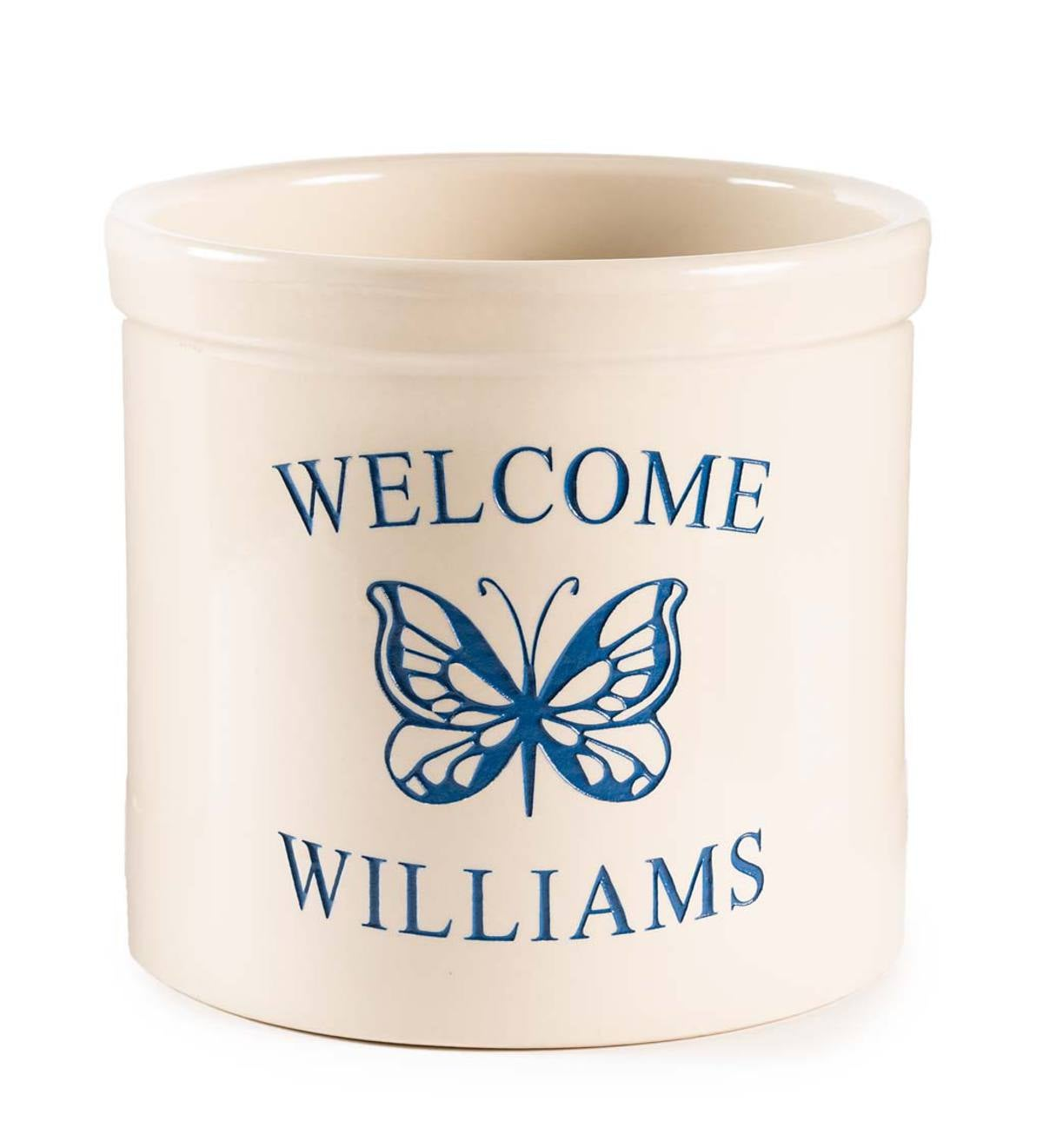 Personalized Stoneware Crock with Butterfly - Blue