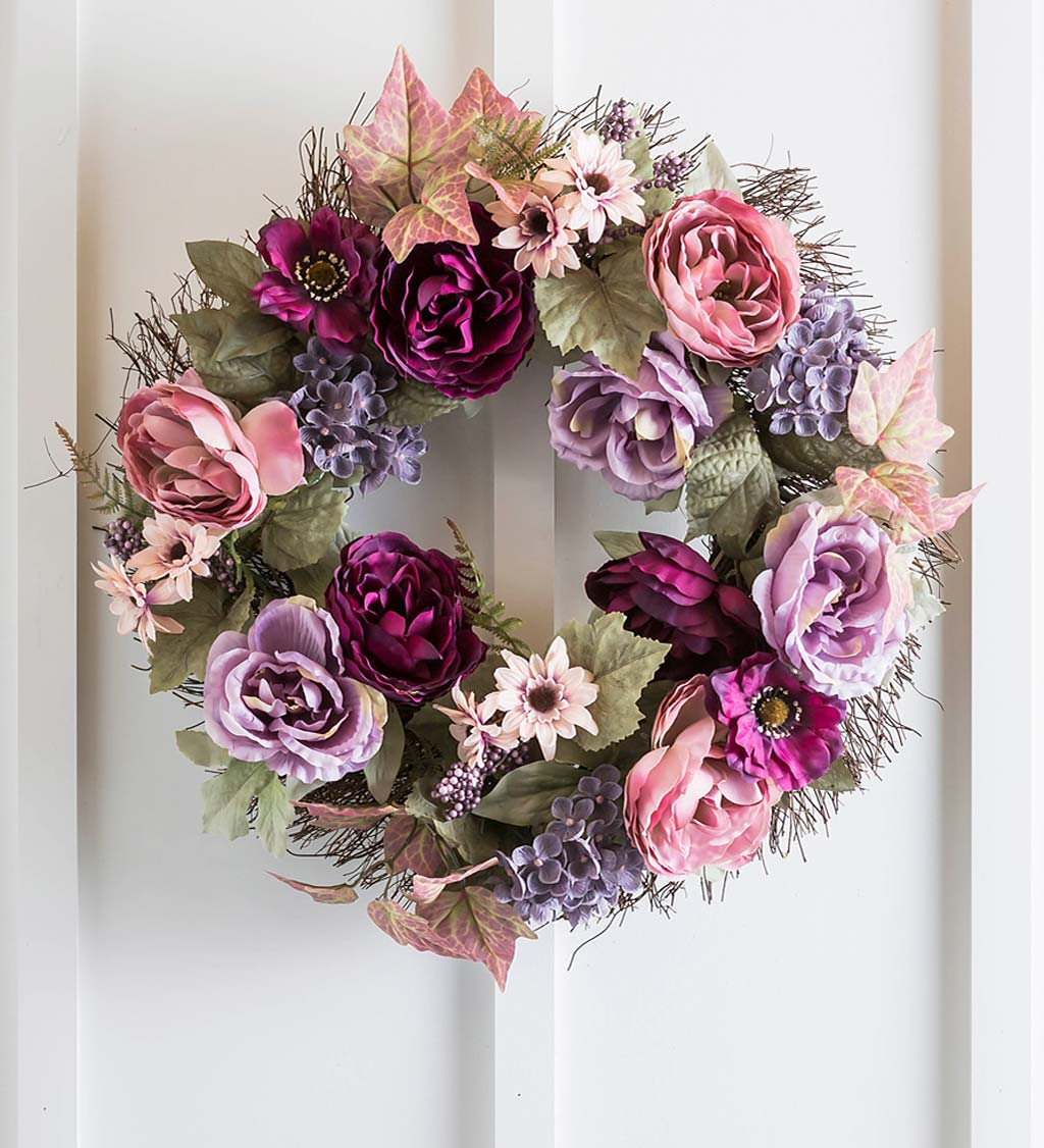 Romantic Rose and Hydrangea Floral Wreath