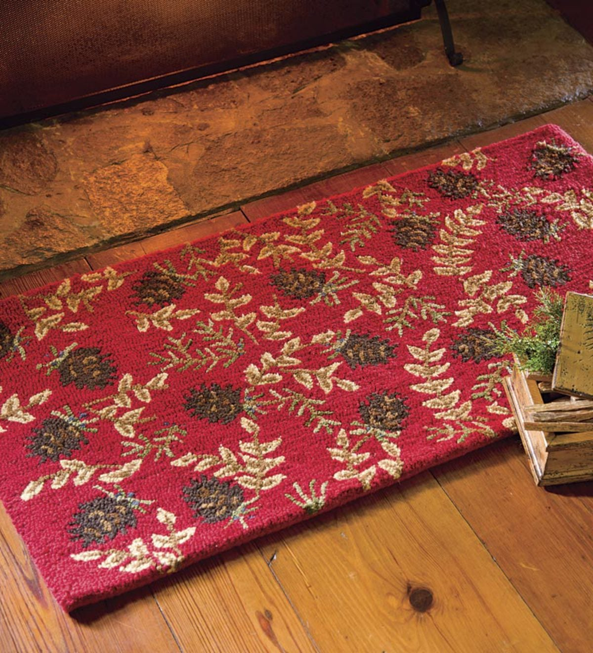 Hand-Hooked Fire-Resistant Ruby Cones Wool Rug